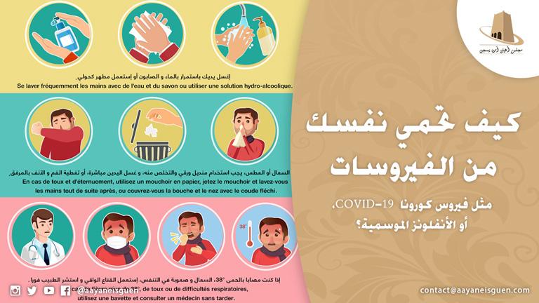 نظرا لأننا في وقت ظهور الإنفلونزا إضافة إلى فيروس كورونا COVID-19، يقدم لكم مجلس أعيان آت يسجن بعض النصائح والإرشادات للوقاية من تلك الأمراض.
